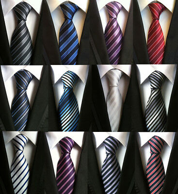 Classic Men's Stripe Style Ties Wedding Party Neck ties Black Red blue Silk tie