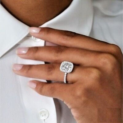 1.50ct Cushion-Cut VVS1/D Diamond Halo Engagement Ring In Solid 10k White Gold