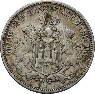 Künker: Hamburg, 5 Mark 1875 J
