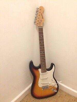 Benson full size electric guitar stratocaster with case, amplifier, spare string