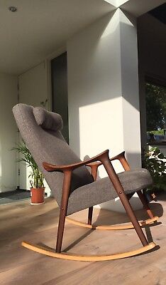 1960's Afromosia Rocking Chair Designed By Rolf Rastad & Adolf Rellling