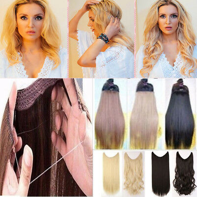 """Secret Halo Wire Hair Extensions Flip in Hairpiece No Clip 20"""" Long Brown Black"""