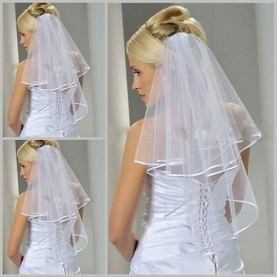 Short Veil Bride Wedding Accessories Ivory Satin Edge Bridal Veil Organza White