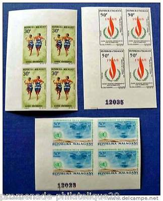 MADAGASCAR stamp - Scn and Tellier n°444 à 446 not serrated - Block 4 - N