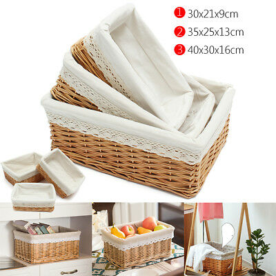 3 Size L/M/S Antique Rectangle Wicker Willow Storage Basket Hamper Container