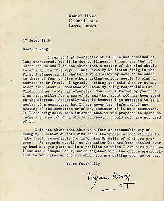 1936 | Virginia WOOLF letter | dismay at cost of FREUD tribute | HG WELLS zweig