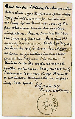 1877 | WILLIAM GLADSTONE | ALS postcard to publisher John MURRAY re: SCHLIEMANN