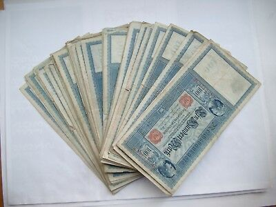 Reichsbanknoten 48 x 100 Mark 43 x 1910, 4 x 1908 + 1 x 1909