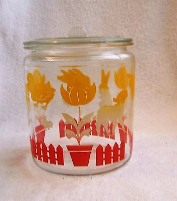 Hocking Glass Provisional Canister Storage Jar with Lid  Ducks Chicks Lambs