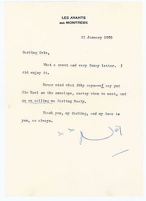 1970 | Noel COWARD | letter TLS signed | to socialite and friend Evie JOHNSON