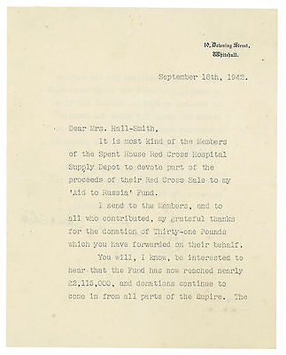 1942 | Clementine CHURCHILL | TLS signed letter from 10 downing street | RUSSIA