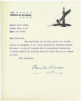 1930s | Ursula BLOOM | TLS signed note | author | attractive headed letter paper