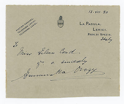 1930 | Emma ORCZY baroness | ALS signed note | author of The Scarlet Pimpernel
