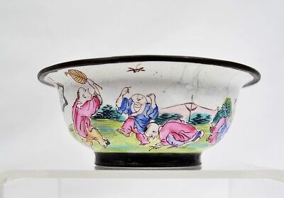 Antique Chinese Canton Famille Rose Enamel on Brass Bowl Children Playing