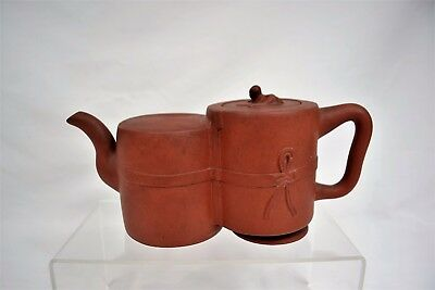 Antique Chinese Yi Hsing Zisha Red Clay Double Teapot Marked inside the lid