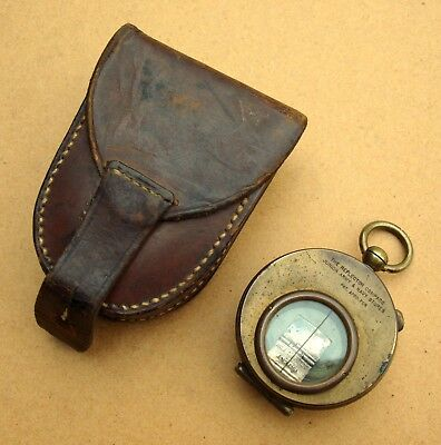 Scarce Junior Army & Navy stores reflector compass in leather case WW1