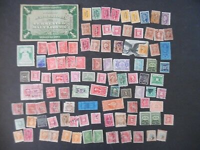 Lot of 100 Antique & Vintage Revenue Back of Book Stamps Lot #A