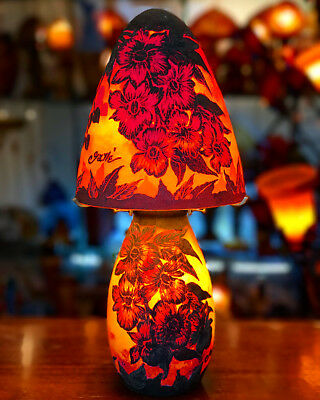 Emile Galle rare red flowers lamp.