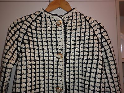 Vintage Black And White Hand Knit Cardigan  Size M  Good Condition