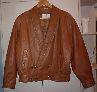 VINTAGE 1980s ITALIAN BROWN LEATHER  JACKET SIZE XXLARGE  EXC- CONDITION