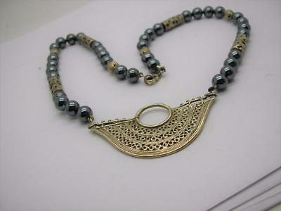 Vintage Sterling Silver Hemetite Bead Hand Made Necklace