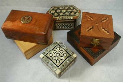 A Collection Of Six Collectible Wooden Boxes, Inlaid, Mother Of Pearl