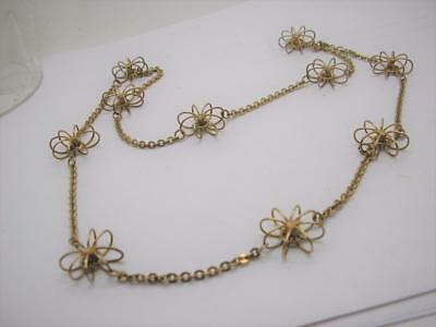 """Vintage 800 Silver Gilt Hand Made Daisy Flower Station Necklace 26"""""""