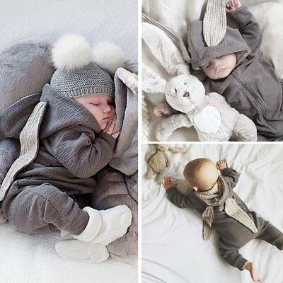 Newborn Kids Baby Girl Boy Rabbit 3D Ear Romper Bodysuit Jumpsuit Clothes Outfit