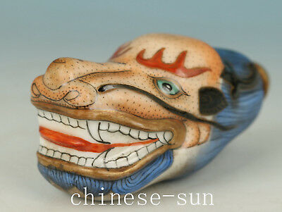Exquisite Chinese Porcelain Handmade Painting Red Dragon Statue Snuff Bottle