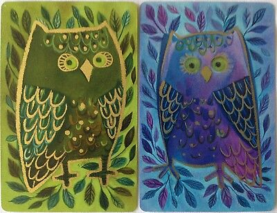 VINTAGE - SWAP/PLAYING CARDS x 2 (pair) MOD OWLS GREEN & BLUE C.1970's MINT