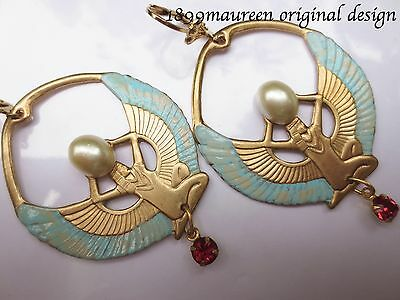 Art Deco earrings Art Nouveau Egyptian Revival vintage style hoops LARGE