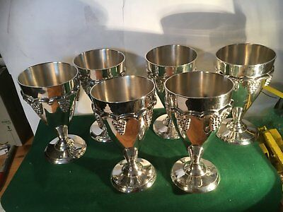 """Silver Plated Goblets Marked L""""ecuyer  France X6"""