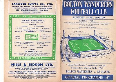 BOLTON WANDERERS v LE HAVRE 1960/1 Anglo-French-Scottish Friendship Cup.
