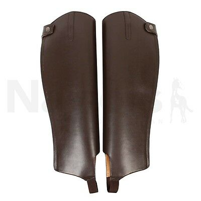 Saxon Equileather Gaiters/Half Chaps *Adult* Black/Brown RRP £24.99