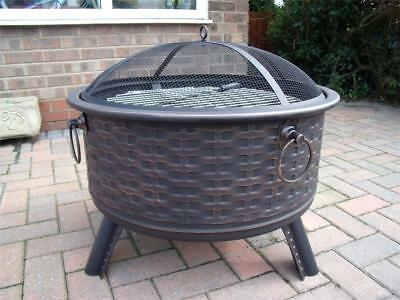 Fire Pit Rattan Furniture Style Decking Heater Metal Firepit Brazier BBQ Table B