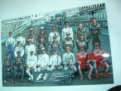 F1 ABU DHABI Last GP LINE UP SIGNED 2016 BY 15 DRIVERS 20x30 A4 RARE LOOK!!
