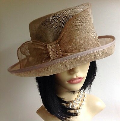 Marks & Spencer Natural Straw Hat With Large Bow Detail Races Church Wedding