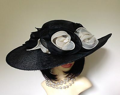 JAMI JAYS MILINERS Black Straw Hat Silk Rose & Ribbon Decorated Weddings Church