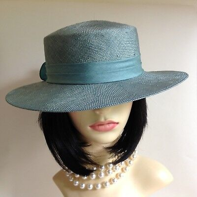BHS Mint Green Viscose Hat With Ribbon & Gathered Bow Detail Church Wedding
