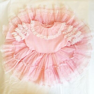 Vintage Girl Baby Toddler Full Circle Twirl Part Lace Ruffle Party Dress 2/3T