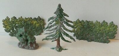 John Hill & Others Pre-War Painted Lead Lot Of Two Hedges-A Fir Tree+A Shrub