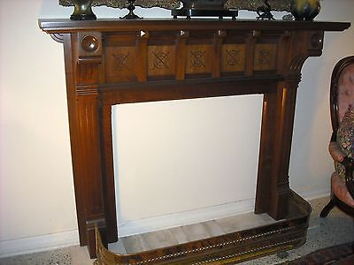 Victorian walnut fireplace mantel and surround