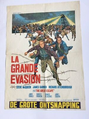 La Grande Evasion- The Great Escape Film Poster From Belgium 18 X 25 In. Iconic