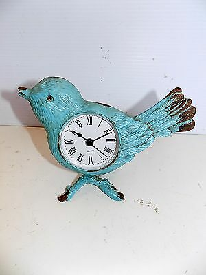 "Distressed Blue Metal Bird Clock NWT Approx 5""H x 6""W"
