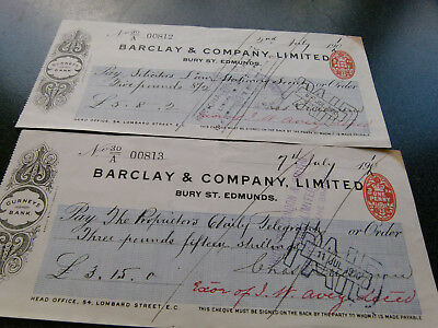 Antique  Cheques Dated  July 1910
