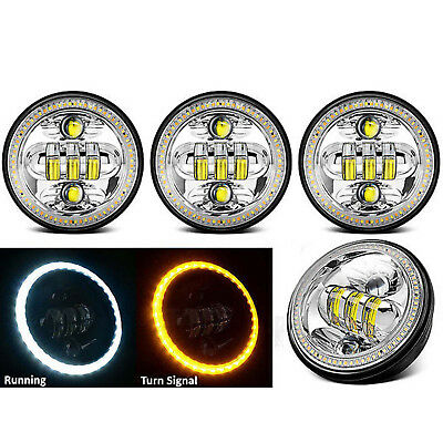 """5-3/4"""" LED Chrome Daymaker Projector White Amber Halo Crystal Headlight Set of 4"""