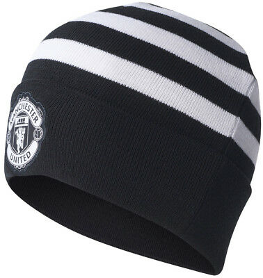 adidas 2017/18 Manchester United 3 Stripes Woolie Hat - Black
