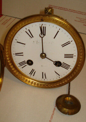 """Fine Antique French Mantel Mantle Clock Movement With Pendulum - For 4 1/4"""" Hole"""