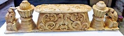 Antique Wood figurine table Mount Panel fine Carving early temple lintel India