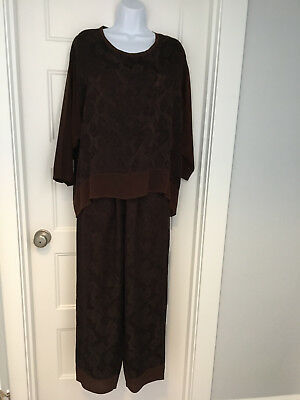 Exotic Womans 2 Piece Silk  Lagenlook Pants and top EXC size M/L